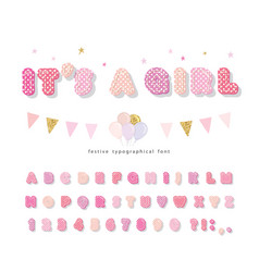 cute polka dots font in pastel pink paper cutout vector image