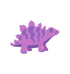 Cute stegosaurus dinosaur purple baby dino vector
