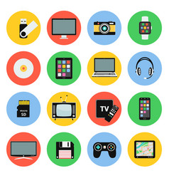 digital devices flat icons computer laptop vector image