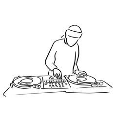 disc jockey with the turntable dj plays vector image