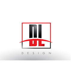 dl d l logo letters with red and black colors and vector image