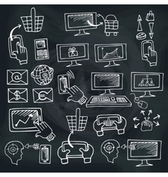 Doodle scheme seo communication with icons vector