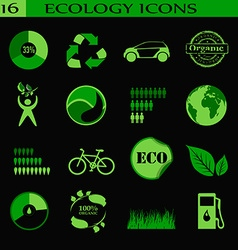 Ecology icons emblem vector image vector image