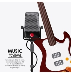 Electric guitar microphone music festival icon vector