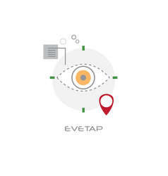eyetap front eye camera device vision concept line vector image