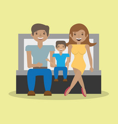 Family father mother and son sitting sofa vector