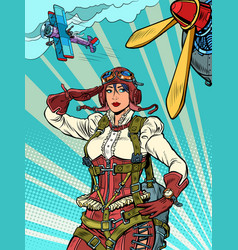Female retro pilot professional military pilot vector