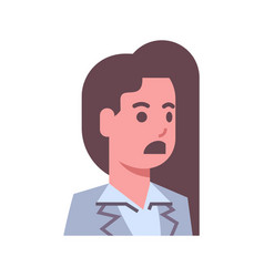 Female shocked emotion icon isolated avatar woman vector