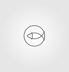 fish logo line art minimalist logo design vector image