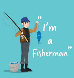 fisherman character with fish on sky blue vector image