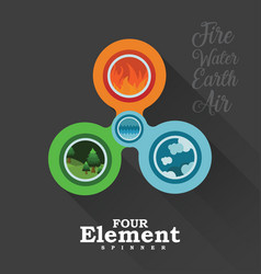 four element spinner in black vector image