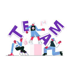 friendly team workers vector image