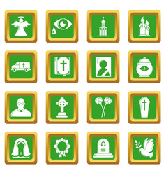 Funeral ritual service icons set green square vector