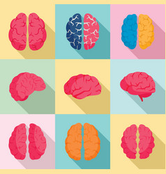 Genius brain icon set flat style vector