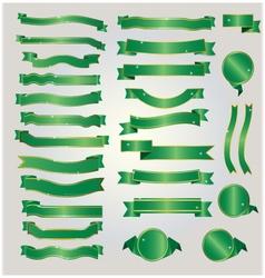 Gold and green ribbon vector