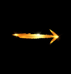 gold arrow isolated on black background vector image