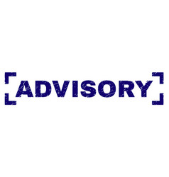 Grunge textured advisory stamp seal inside corners vector