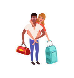 happy couple in love with travel bags people vector image