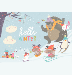 Happy cute animals playing winter games hello vector