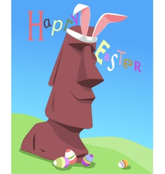 Happy Easter from Easter Island vector