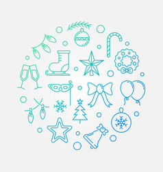 happy holidays colored round thin line vector image