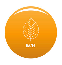 Hazel leaf icon orange vector