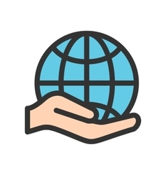 Holding Globe vector