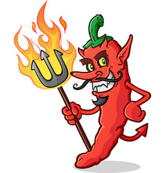 hot chili pepper devil cartoon character pitchfork vector image