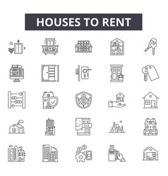 houses to rent line icons signs set vector image