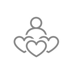 human with three hearts donation line icon like vector image