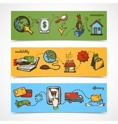 Internet shopping sketch banner vector image