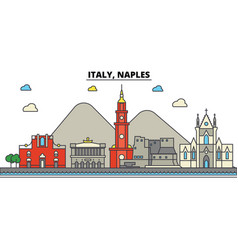 Italy naples city skyline architecture vector