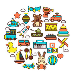 Kid toys or children playthings icons vector