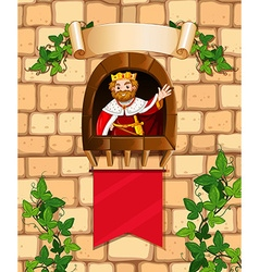 King standing on the castle tower vector
