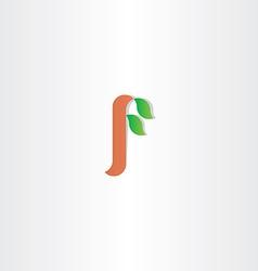 letter f tree leaf plant eco logo vector image