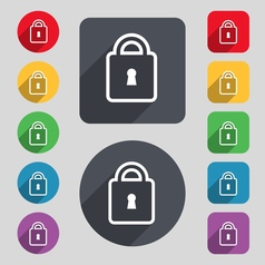 Lock icon sign A set of 12 colored buttons and a vector image