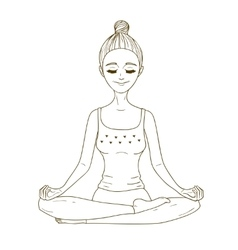Meditating girl vector