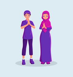 Muslim couple in cartoon style vector