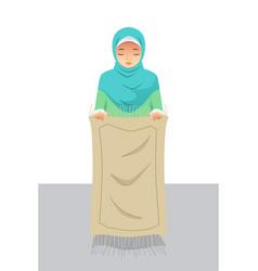 Muslim woman preparing before praying vector