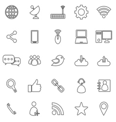 Network line icons on white background vector