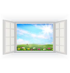 Open window of beautiful summer with flowers vector