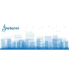 Outline juneau alaska skyline with blue buildings vector