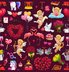 Pattern with valentines day hearts cupids flower vector