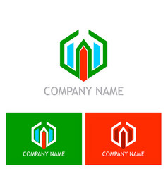 Polygon building company logo vector