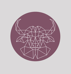 Polygonal buffalo head geometric style vector