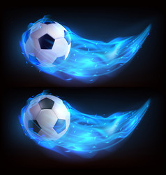 realistic flying soccer ball in blue fire vector image