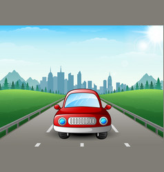 red car cartoon on city background vector image