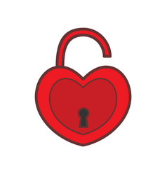 red valentine love padlock graphic vector image