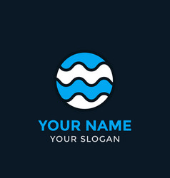 round logo with waves vector image