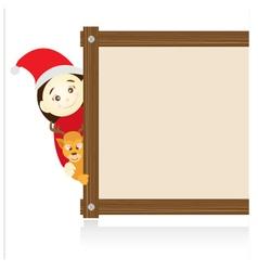 Santa claus and reindeer beside wood board on vector
